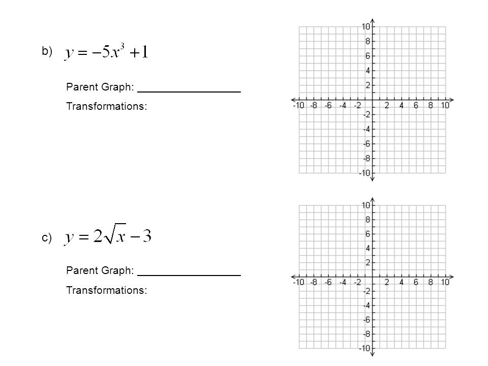 b) Parent Graph: _________________ Transformations: c) Parent Graph: _________________ Transformations: