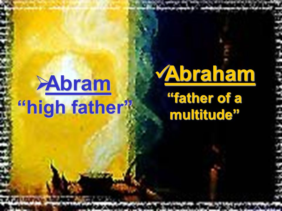 Abraham Abraham father of a multitude  Abram high father
