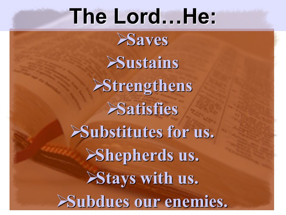  Saves  Sustains  Strengthens  Satisfies  Substitutes for us.