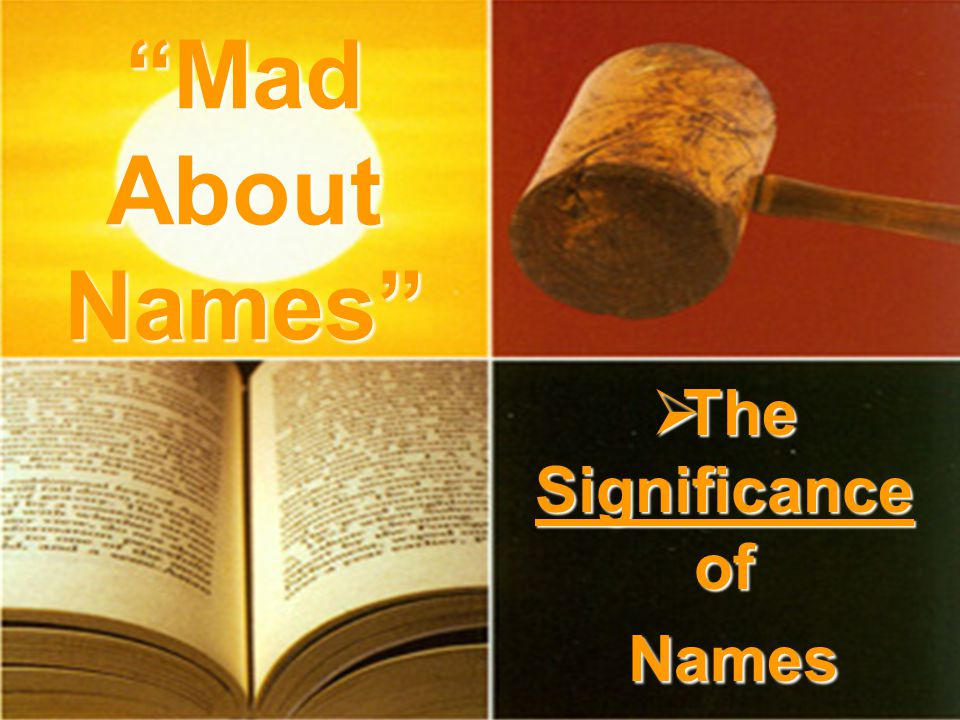  The Significance of Names Mad About Names