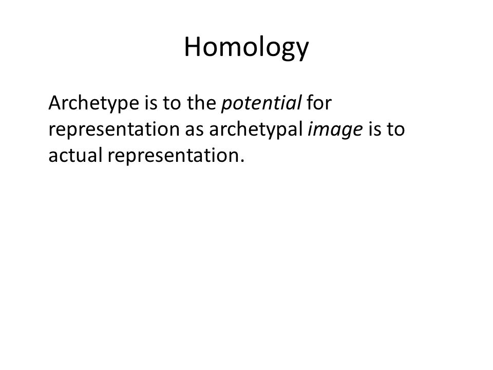 Homology Archetype is to the potential for representation as archetypal image is to actual representation.