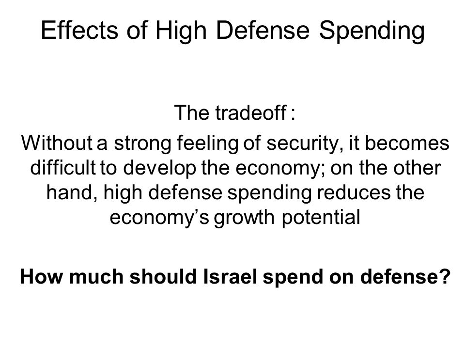 Effects of High Defense Spending The tradeoff: Without a strong feeling of security, it becomes difficult to develop the economy; on the other hand, h