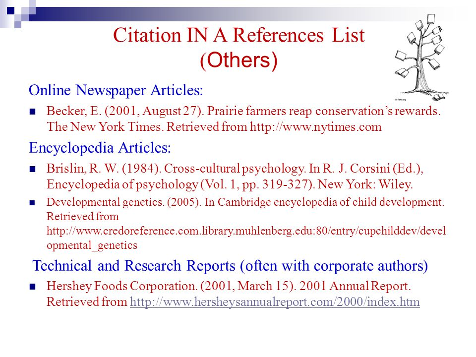 Citation IN A References List ( Others) Online Newspaper Articles: Becker, E. (2001, August 27). Prairie farmers reap conservation's rewards. The New