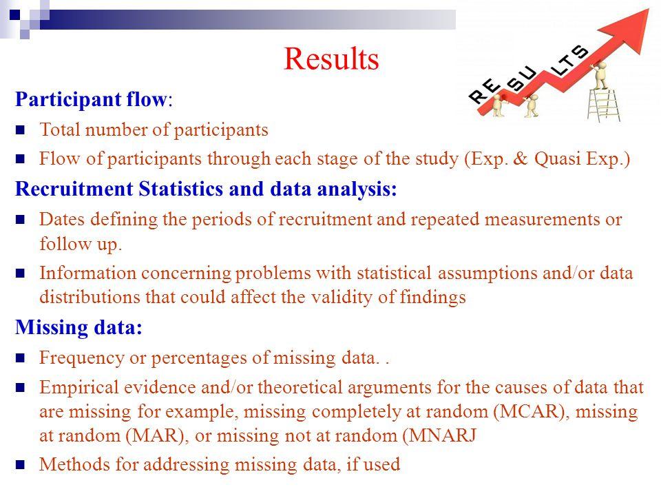 Results Participant flow: Total number of participants Flow of participants through each stage of the study (Exp. & Quasi Exp.) Recruitment Statistics