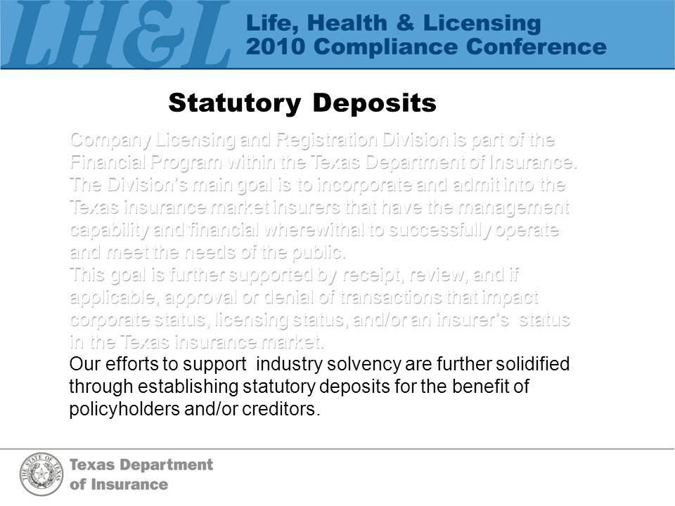 Statutory Deposits