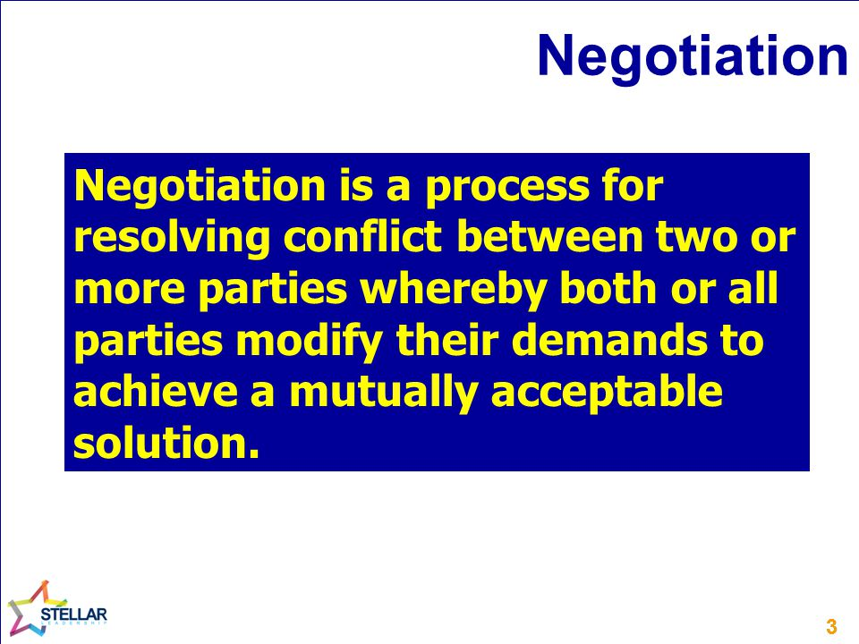 33 Negotiation Negotiation is a process for resolving conflict between two or more parties whereby both or all parties modify their demands to achieve a mutually acceptable solution.