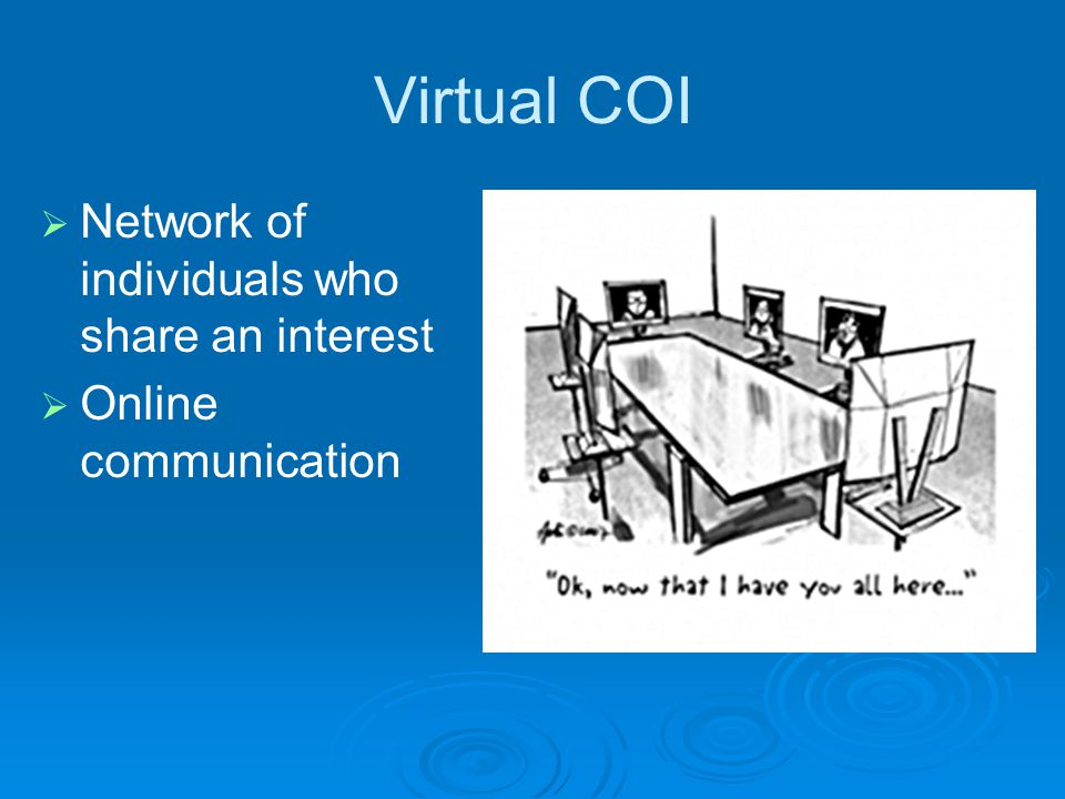 Virtual COI  Network of individuals who share an interest  Online communication