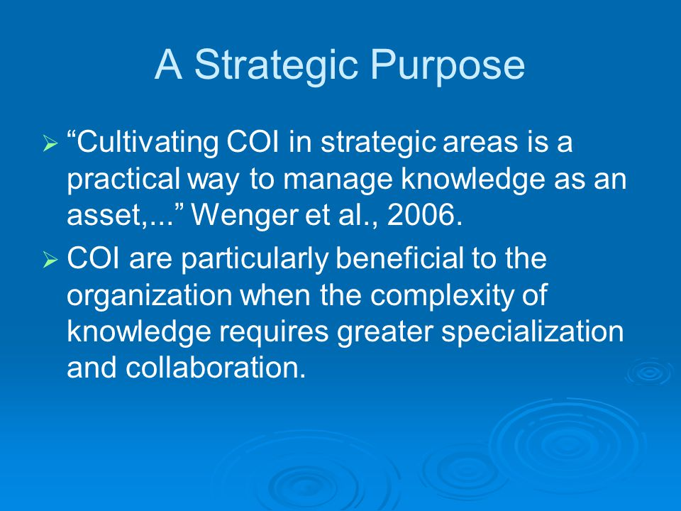 Basic Model of COI A community of inquiry will have:  A domain of knowledge Defines a set of evolving issues, i.e.