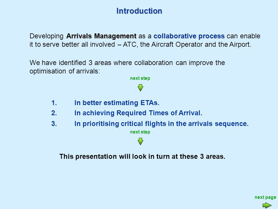 Introduction 3.In prioritising critical flights in the arrivals sequence.