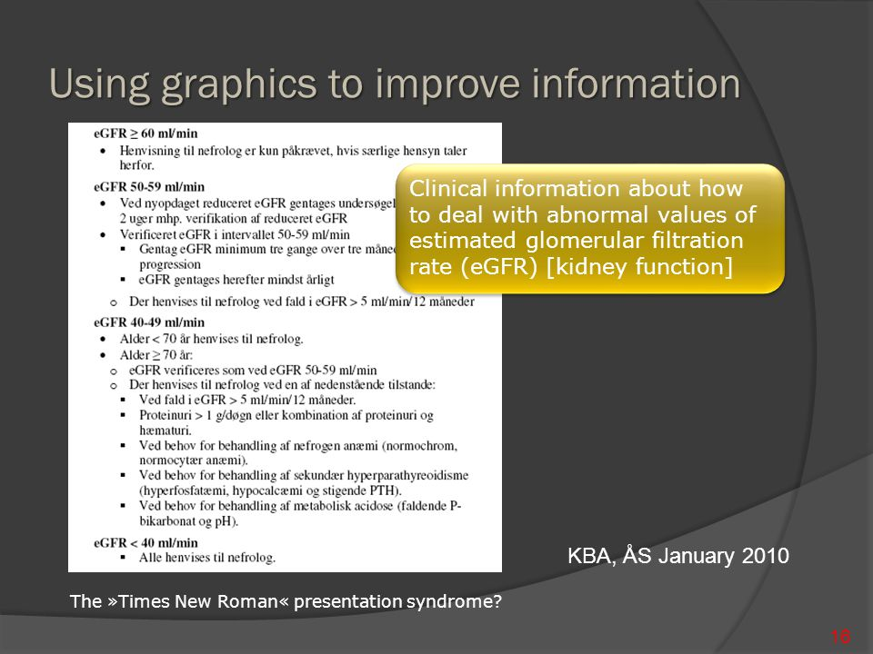 Using graphics to improve information 16 KBA, ÅS January 2010 Clinical information about how to deal with abnormal values of estimated glomerular filtration rate (eGFR) [kidney function] The »Times New Roman« presentation syndrome