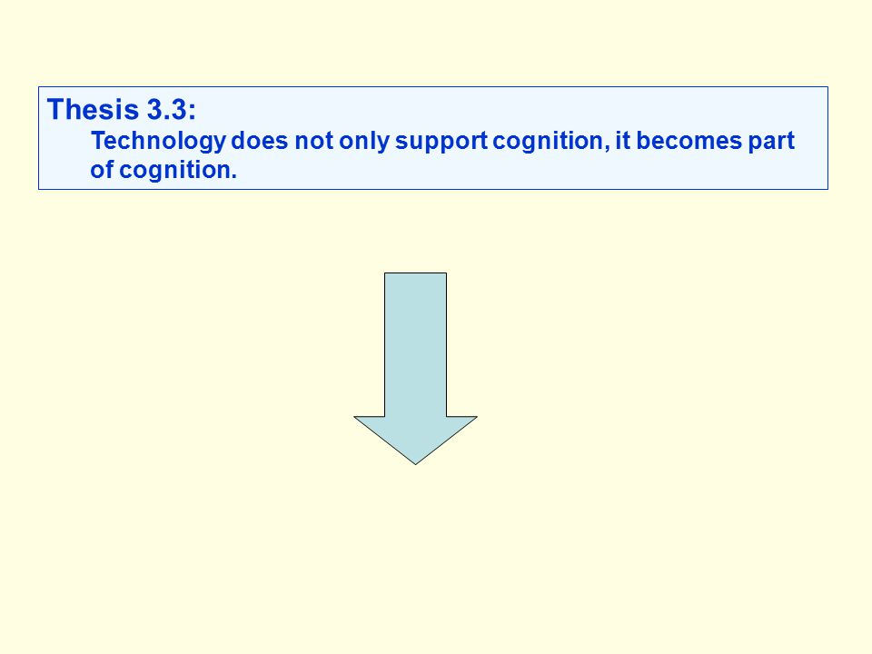 Thesis 3.3: Technology does not only support cognition, it becomes part of cognition.