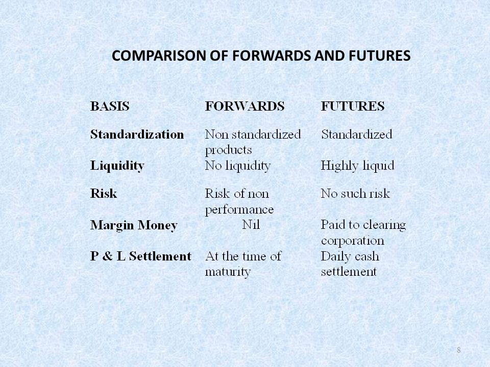 COMPARISON OF FORWARDS AND FUTURES 8