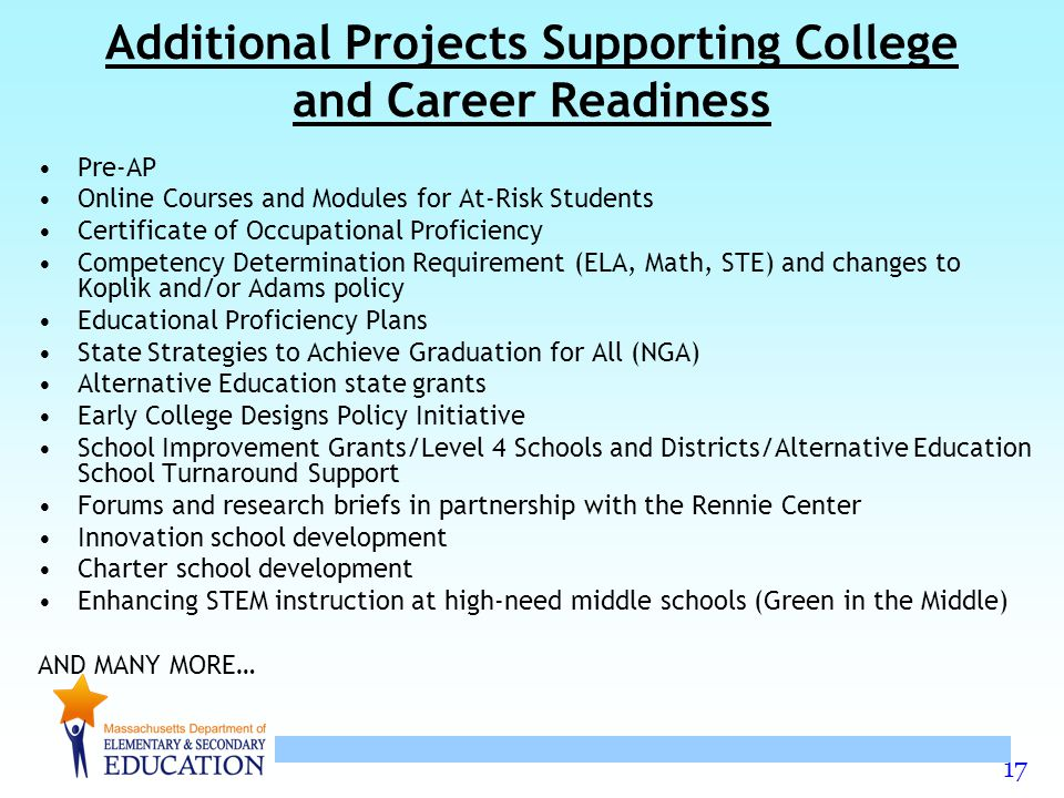 17 Additional Projects Supporting College and Career Readiness Pre-AP Online Courses and Modules for At-Risk Students Certificate of Occupational Proficiency Competency Determination Requirement (ELA, Math, STE) and changes to Koplik and/or Adams policy Educational Proficiency Plans State Strategies to Achieve Graduation for All (NGA) Alternative Education state grants Early College Designs Policy Initiative School Improvement Grants/Level 4 Schools and Districts/Alternative Education School Turnaround Support Forums and research briefs in partnership with the Rennie Center Innovation school development Charter school development Enhancing STEM instruction at high-need middle schools (Green in the Middle) AND MANY MORE…