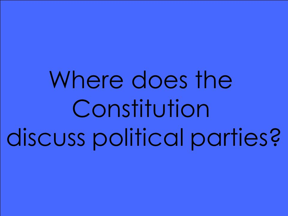 Where does the Constitution discuss political parties