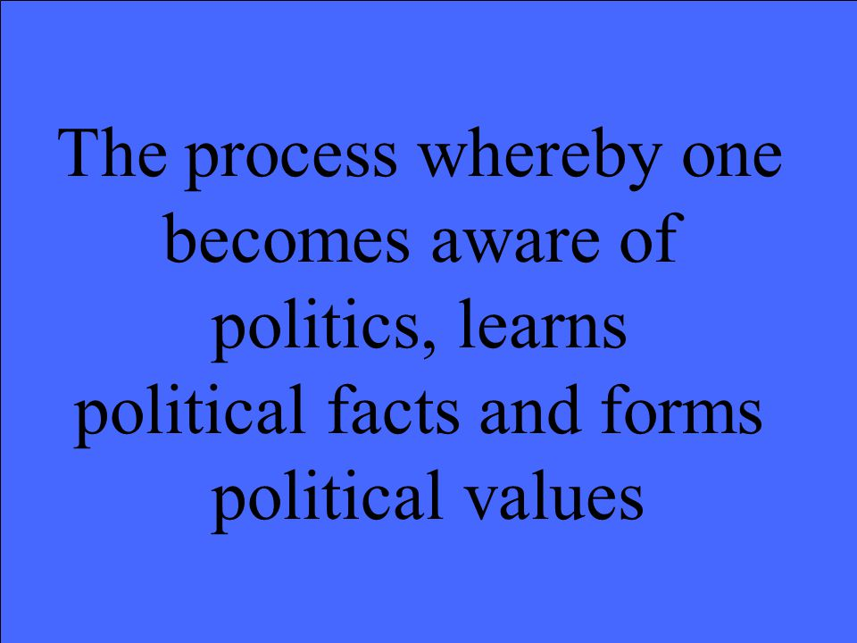 The process whereby one becomes aware of politics, learns political facts and forms political values