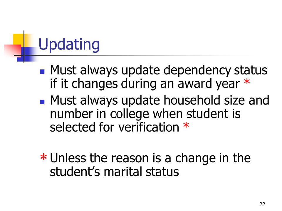 22 Updating Must always update dependency status if it changes during an award year * Must always update household size and number in college when student is selected for verification *  Unless the reason is a change in the student's marital status