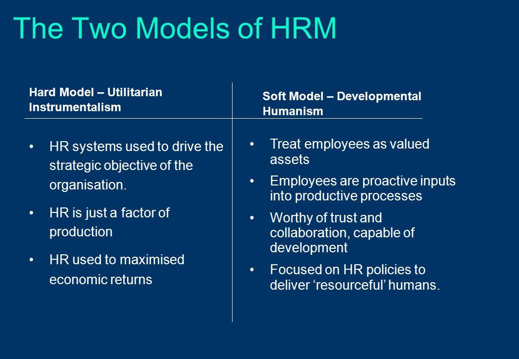 Main Activities of HRM Recruitment and selection Training and development Human resource planning Provision of contracts Provision of fair treatment Equal opportunities Assessing performance of employees Employee counselling