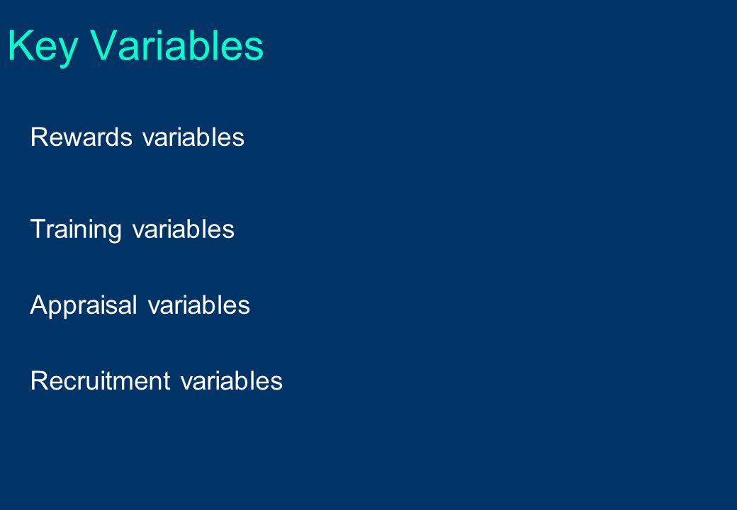 Key Variables Rewards variables Training variables Appraisal variables Recruitment variables