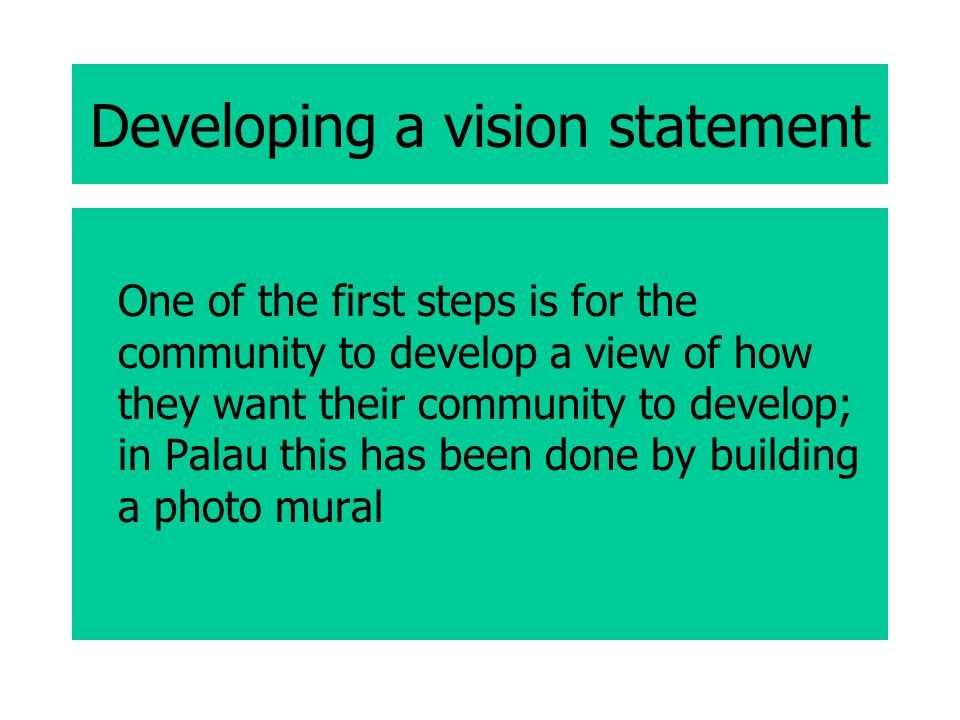 Developing a vision statement One of the first steps is for the community to develop a view of how they want their community to develop; in Palau this has been done by building a photo mural