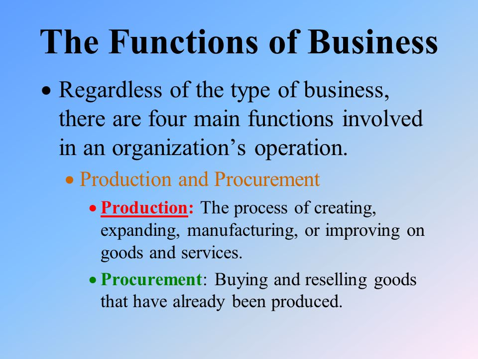 The Functions of Business  Regardless of the type of business, there are four main functions involved in an organization's operation.