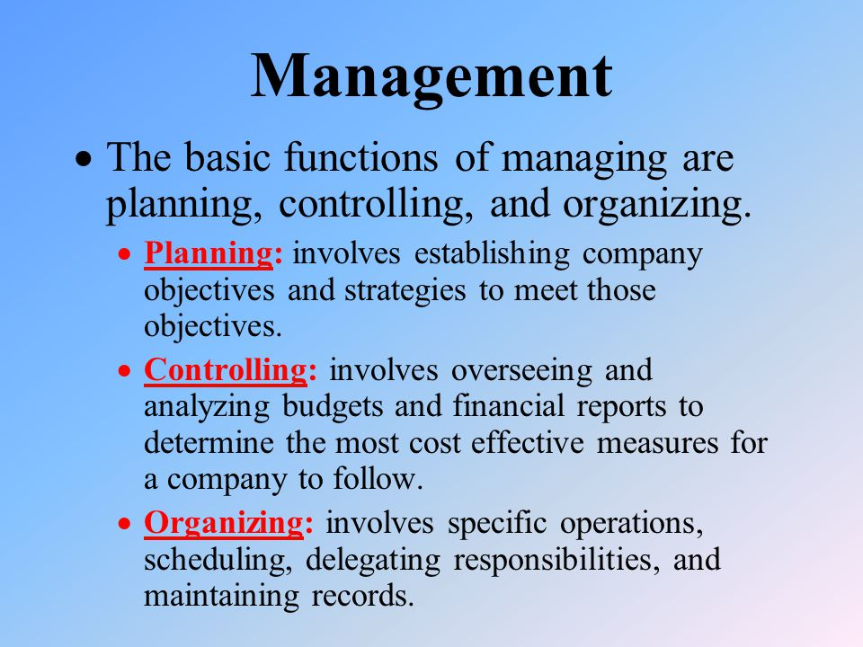Management  The basic functions of managing are planning, controlling, and organizing.