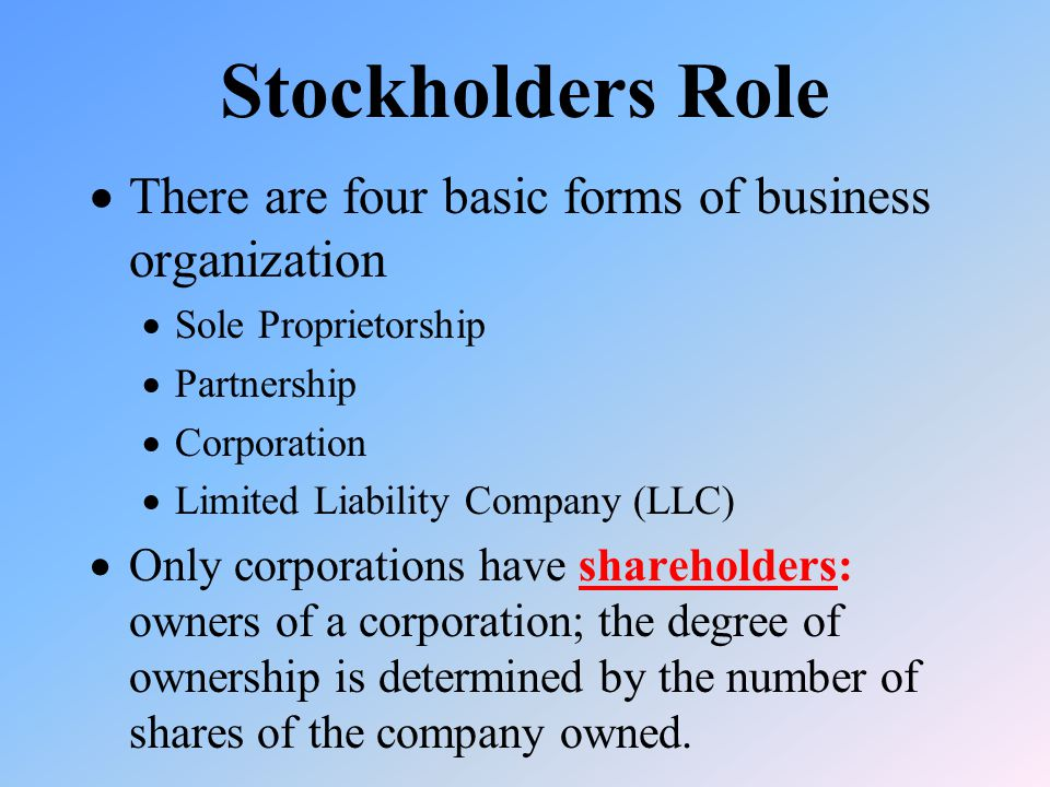 Stockholders Role  There are four basic forms of business organization  Sole Proprietorship  Partnership  Corporation  Limited Liability Company (LLC)  Only corporations have shareholders: owners of a corporation; the degree of ownership is determined by the number of shares of the company owned.