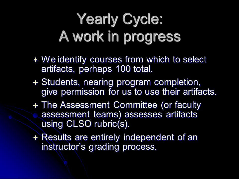 Yearly Cycle: A work in progress  We identify courses from which to select artifacts, perhaps 100 total.