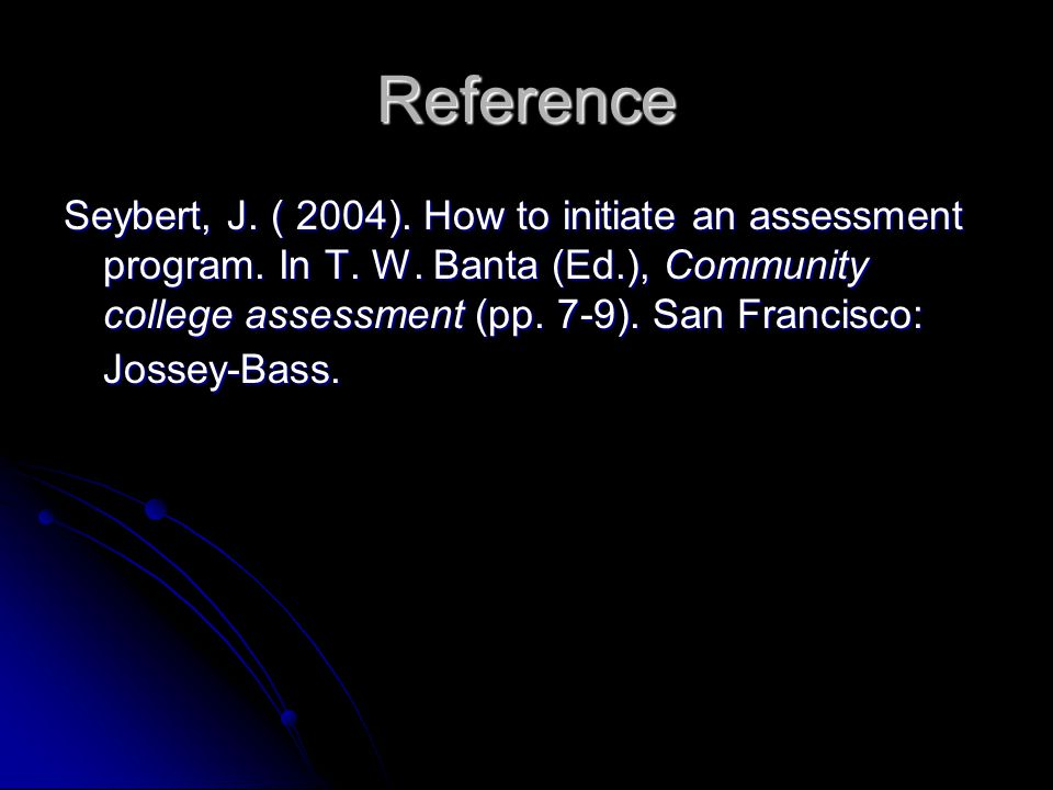 Reference Seybert, J. ( 2004). How to initiate an assessment program.
