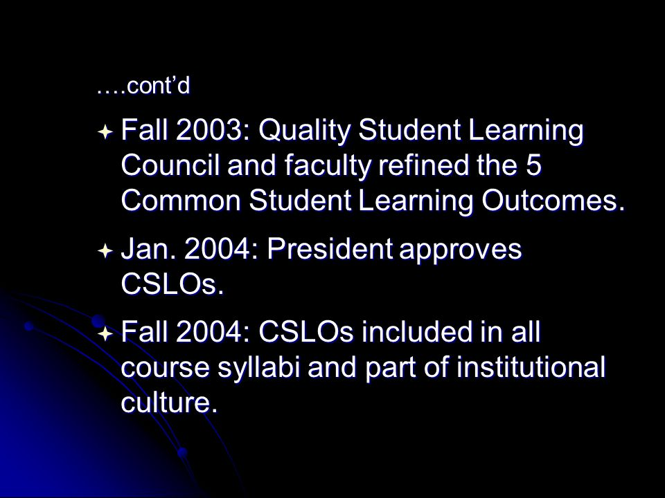 ….cont'd  Fall 2003: Quality Student Learning Council and faculty refined the 5 Common Student Learning Outcomes.
