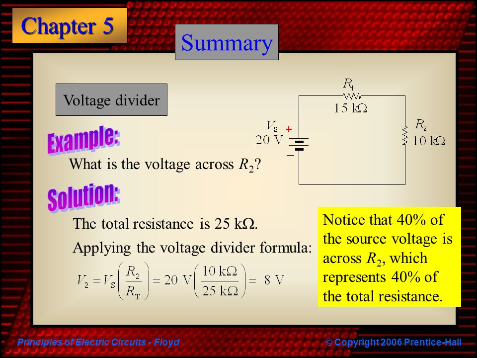 Principles of Electric Circuits - Floyd© Copyright 2006 Prentice-Hall Chapter 5 Summary What is the voltage across R 2 ? The total resistance is 25 k