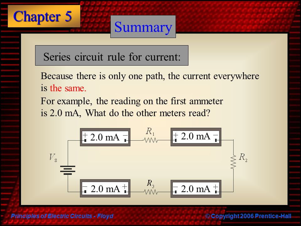 Principles of Electric Circuits - Floyd© Copyright 2006 Prentice-Hall Chapter 5 Summary Series circuit rule for current: Because there is only one pat
