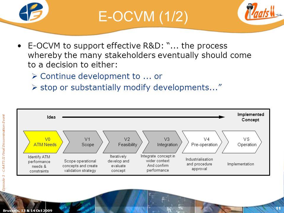 "Brussels, 13 & 14 Oct 2009 Episode 3 - CAATS II Final Dissemination Event 11 E-OCVM (1/2) E-OCVM to support effective R&D: ""... the process whereby th"