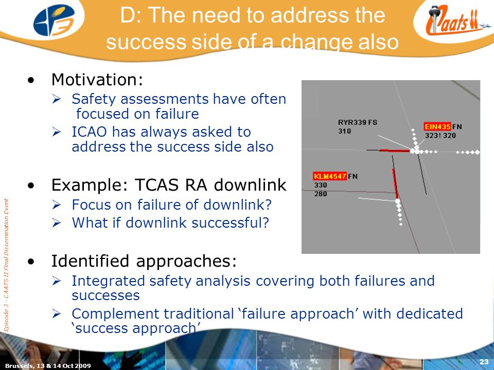 Brussels, 13 & 14 Oct 2009 Episode 3 - CAATS II Final Dissemination Event 23 D: The need to address the success side of a change also Motivation:  Safety assessments have often focused on failure  ICAO has always asked to address the success side also Example: TCAS RA downlink  Focus on failure of downlink.