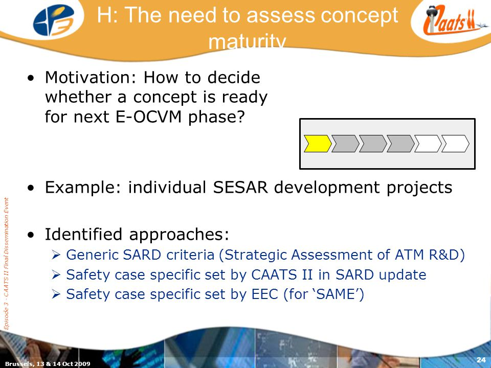 Brussels, 13 & 14 Oct 2009 Episode 3 - CAATS II Final Dissemination Event 24 H: The need to assess concept maturity Motivation: How to decide whether a concept is ready for next E-OCVM phase.