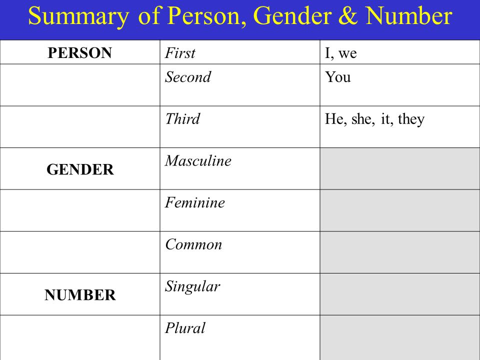 Summary of Person, Gender & Number PERSON FirstI, we SecondYou ThirdHe, she, it, they GENDER Masculine Feminine Common NUMBER Singular Plural