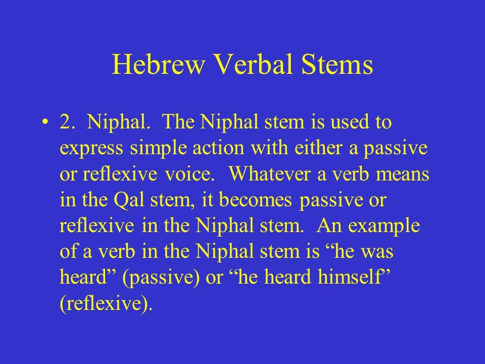 Hebrew Verbal Stems 2. Niphal.