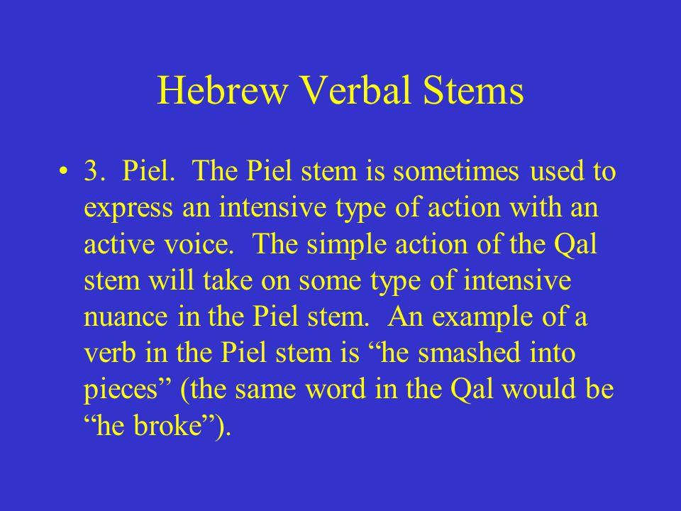 Hebrew Verbal Stems 3. Piel.