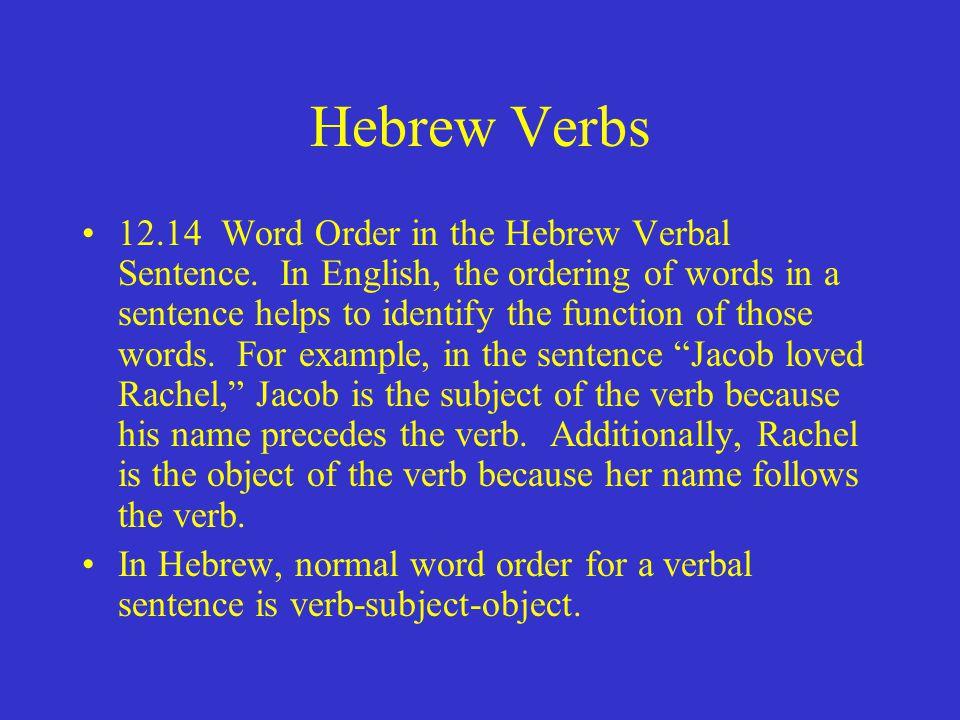 Hebrew Verbs 12.14 Word Order in the Hebrew Verbal Sentence.