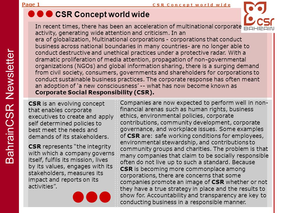 Page 1 C S R C o n c e p t w o r l d w i d e In recent times, there has been an acceleration of multinational corporate activity, generating wide attention and criticism.