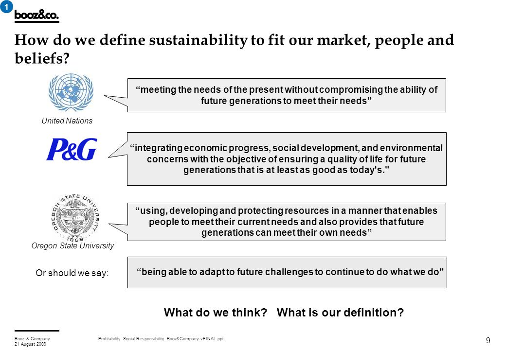 Profitability_Social Responsibility_Booz&Company-vFINAL.pptBooz & Company 21 August 2009 9 How do we define sustainability to fit our market, people a