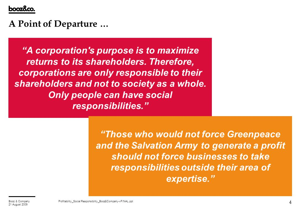 "Profitability_Social Responsibility_Booz&Company-vFINAL.pptBooz & Company 21 August 2009 4 A Point of Departure … ""A corporation's purpose is to maxim"