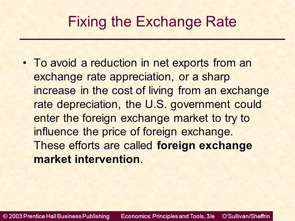 © 2003 Prentice Hall Business PublishingEconomics: Principles and Tools, 3/e O'Sullivan/Sheffrin Fixing the Exchange Rate To avoid a reduction in net
