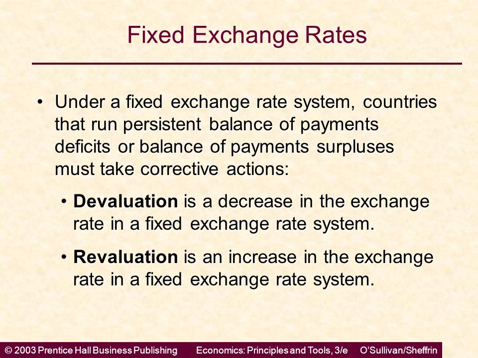 © 2003 Prentice Hall Business PublishingEconomics: Principles and Tools, 3/e O'Sullivan/Sheffrin Fixed Exchange Rates Under a fixed exchange rate syst