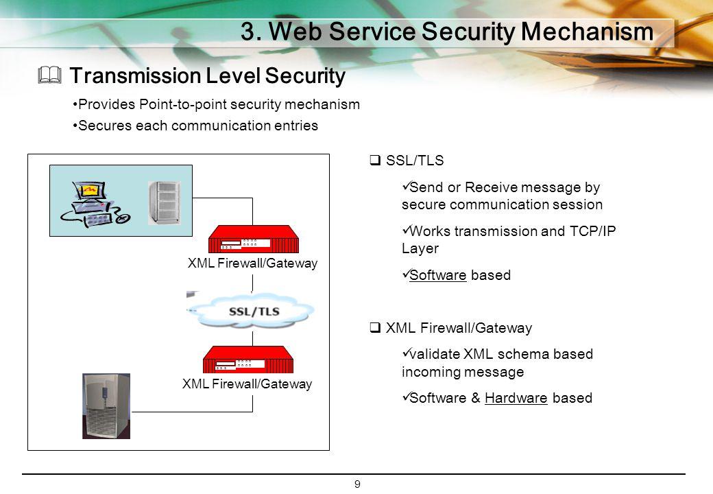 9 3. Web Service Security Mechanism  Transmission Level Security Provides Point-to-point security mechanism Secures each communication entries O O O