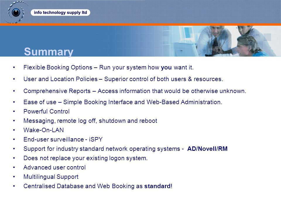 Summary Flexible Booking Options – Run your system how you want it.
