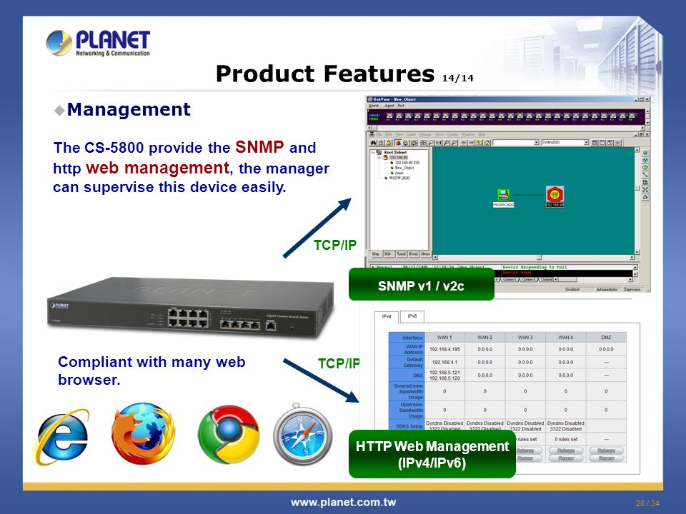 28 / 34 Product Features 14/14  Management TCP/IP HTTP Web Management (IPv4/IPv6) The CS-5800 provide the SNMP and http web management, the manager can supervise this device easily.
