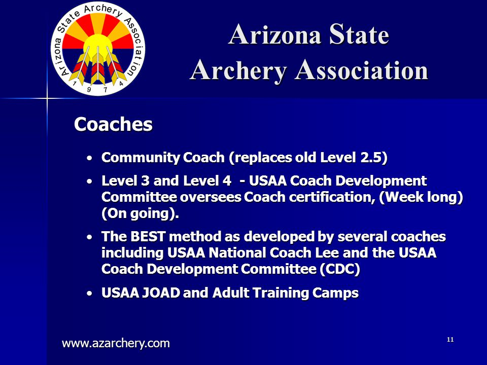 www.azarchery.com 11 A rizona S tate A rchery A ssociation Community Coach (replaces old Level 2.5)Community Coach (replaces old Level 2.5) Level 3 and Level 4 - USAA Coach Development Committee oversees Coach certification, (Week long) (On going).Level 3 and Level 4 - USAA Coach Development Committee oversees Coach certification, (Week long) (On going).