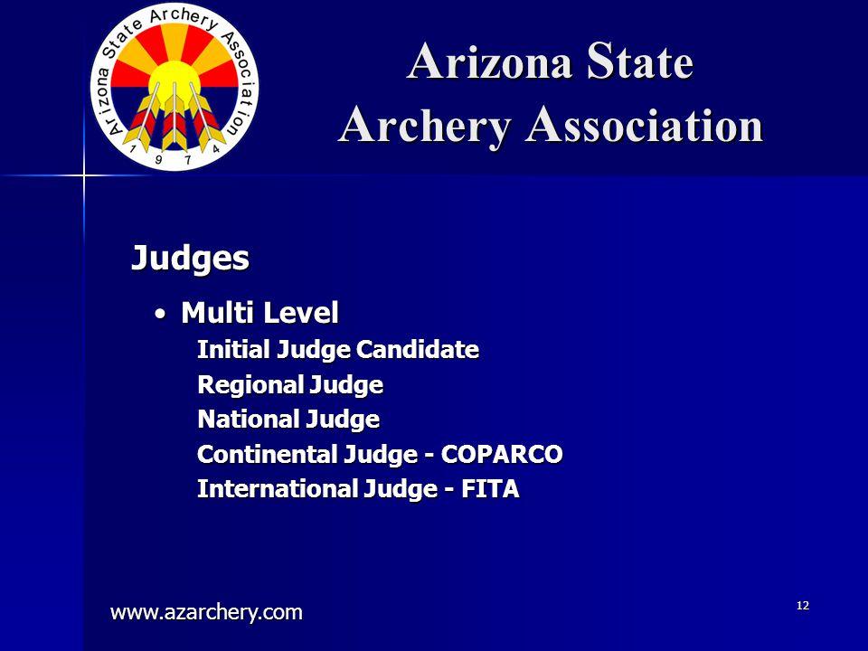 www.azarchery.com 12 A rizona S tate A rchery A ssociation Multi LevelMulti Level Initial Judge Candidate Regional Judge National Judge Continental Ju