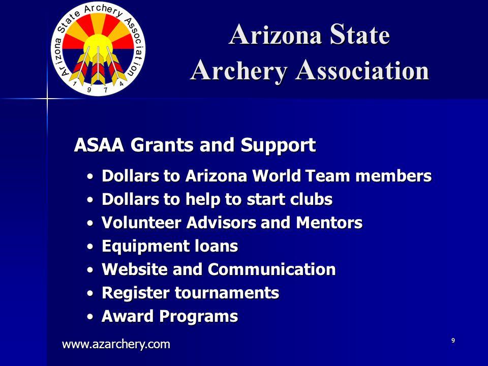 www.azarchery.com 9 A rizona S tate A rchery A ssociation Dollars to Arizona World Team membersDollars to Arizona World Team members Dollars to help t