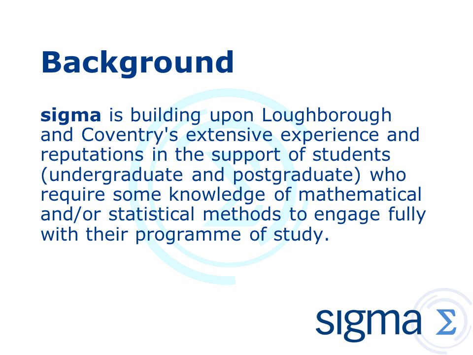 sigma's Thematic Groups  Drop-in Centres  Special Needs  Statistics Support  Proactive Teaching Interventions  Pedagogic Research  Innovative Uses of Technology